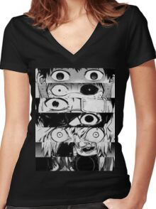 Kaneki - All stages - Tokyo Ghoul Women's Fitted V-Neck T-Shirt