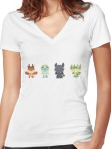 "Tiny Dragons ""How To Train Your Dragon"" Women's Fitted V-Neck T-Shirt"