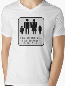 This species will self-destruct (grey back) Mens V-Neck T-Shirt