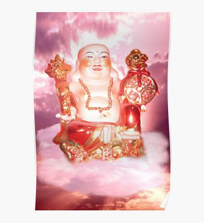 Laughing Buddha Sitting On Cloud Poster