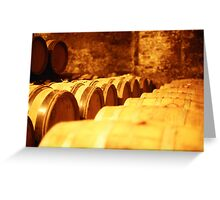 Sepia Barrels Greeting Card