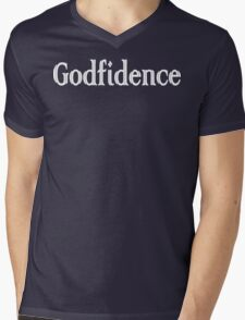 Godfidence Funny Geek Nerd Mens V-Neck T-Shirt