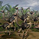 Ostrich Stampede by Lisa  Weber