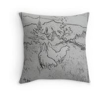 High on the meadow there was a farm, and life for chickens there was swell Throw Pillow