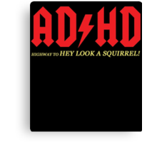 AD HD highway to HEY LOOK A SQUIRREL Canvas Print