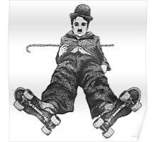 Chaplin on Skates Print Poster