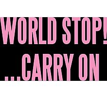 WORLD STOP! ...CARRY ON  Photographic Print