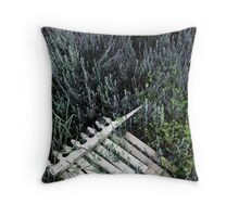 Fence among the lavender Throw Pillow