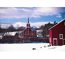 Red Barn and Church - Berks County Pennsylvania, USA 2004 Photographic Print