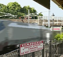 Acela blows by the station! by Jack McCabe