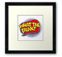 Funny Superhero comic word What the Frak? Framed Print