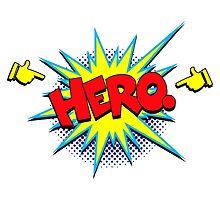 Funny Superhero comic word Hero by Tee Brain Creative
