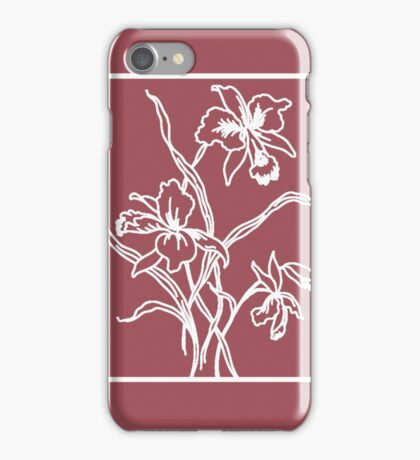 Marsala and White Floral Pattern iPhone Case/Skin