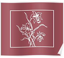 Marsala and White Floral Pattern Poster