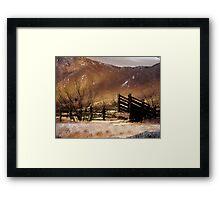 Cattle Pen Sepia Framed Print