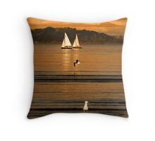 Lazy Sunday Afternoon At Petone Beach Throw Pillow