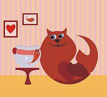 cat and fish in love by Anastasiia Kucherenko
