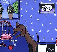 Dachshund Birthday Party by Nathalie Van