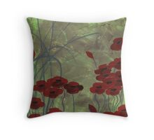 Green Field Poppies and Grasses Throw Pillow