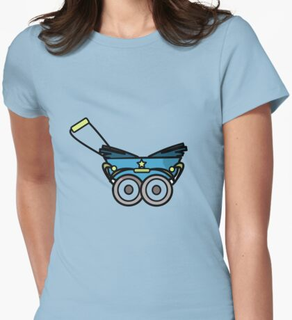 BABY PRAM STROLLER CARRIAGE RETRO Womens Fitted T-Shirt