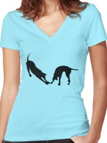STRETCHING DOGS Women's Fitted V-Neck T-Shirt