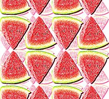 Juicy Watermelon Triangles Drawing Abstract by ELVSmith03