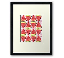 Juicy Watermelon Triangles Drawing Abstract Framed Print