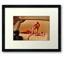 Red Slipper with Pink Ribbon Framed Print