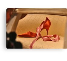 Red Slipper with Pink Ribbon Canvas Print