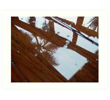 Palms in floor water Art Print