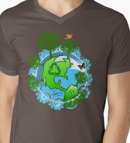 A Global Recycle Mens V-Neck T-Shirt