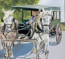 Horse with Cart by fay akers
