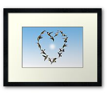 Hummingbird love heart Framed Print