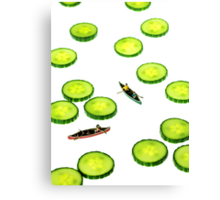 Boating Among Cucumber Slices Canvas Print
