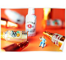 Drinking Among Liquor Filled Chocolate Bottles Poster