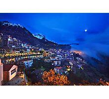 Night falling in Arachova & Parnassos mountain Photographic Print