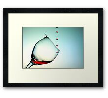 Fishing On A Glass Cup With Red Wine Droplets Framed Print