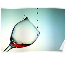 Fishing On A Glass Cup With Red Wine Droplets Poster
