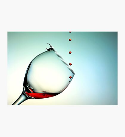 Fishing On A Glass Cup With Red Wine Droplets Photographic Print