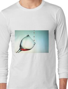 Fishing On A Glass Cup With Red Wine Droplets Long Sleeve T-Shirt
