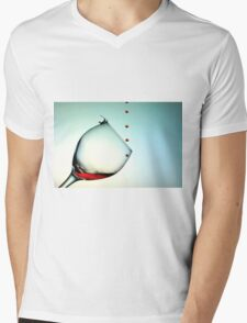 Fishing On A Glass Cup With Red Wine Droplets Mens V-Neck T-Shirt