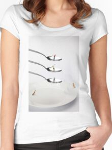 People Playing Golf On Spoons Women's Fitted Scoop T-Shirt