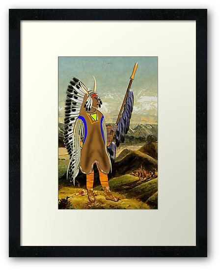 A Mandan Red Indian Chief, Rocky Mountains, North America by Dennis Melling