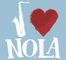 I Heart New Orleans (remix, white) by Tai's Tees Kids Clothes