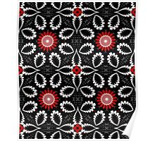Decorative patterns and flowers in black, white and red Poster
