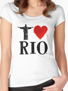 I Heart Rio de Janeiro (blk) by Tai's Tees Women's Fitted Scoop T-Shirt