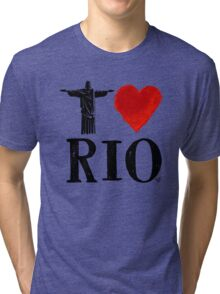 I Heart Rio de Janeiro (blk) by Tai's Tees Tri-blend T-Shirt