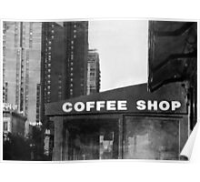 New York City Coffee Shop in Black and White Poster