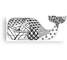 Zentangle Whale Canvas Print