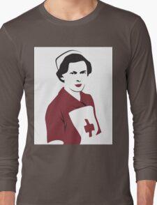 Retro Red Cross Nurse Long Sleeve T-Shirt